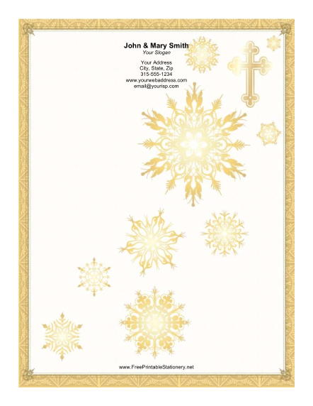 Gold Cross Snowflakes stationery design