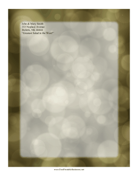 Golden Bokeh Stationery stationery design
