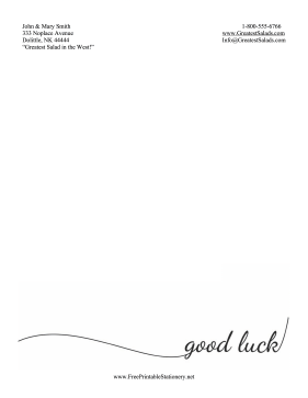 Good Luck Stationery Simple stationery design
