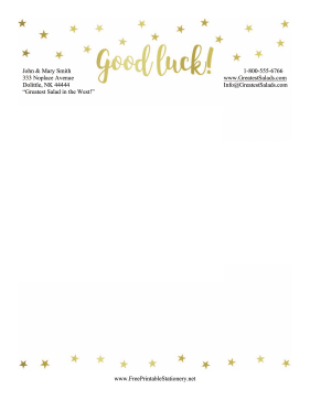 Good Luck Stationery Stars stationery design