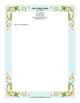 Grapevine Blue stationery design