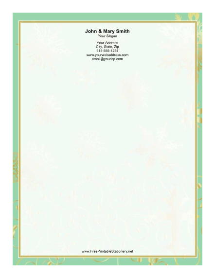 Green Gold Border stationery design