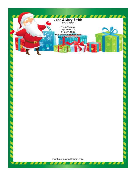 Happy Santa Green Candy Cane Border stationery design