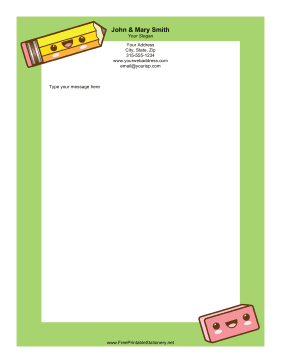 Happy School Supplies stationery design