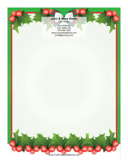 Holly with Bow stationery design