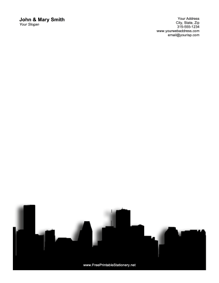 Houston Skyline stationery design
