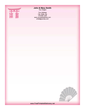 Japanese Fan stationery design