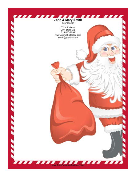 Jolly Santa Candy Cane Border stationery design