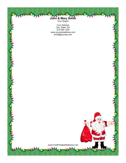 Jolly Santa Lights Border stationery design