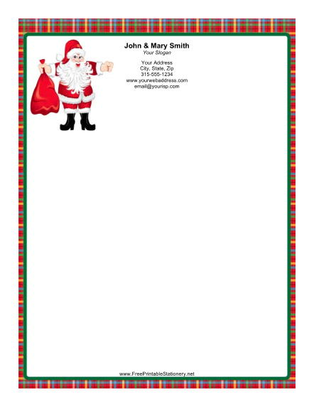 Jolly Santa Plaid Border stationery design