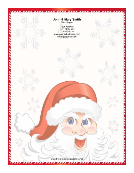 Jolly Santa Red White Candy Cane Border stationery design