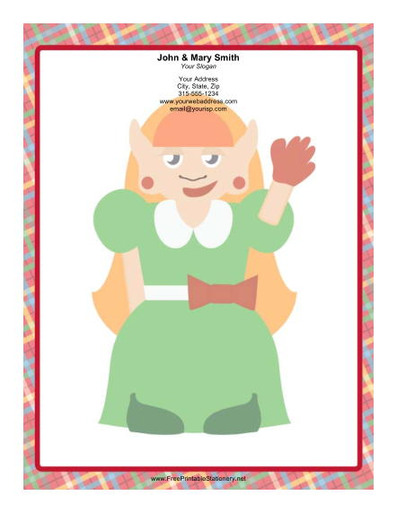 Lady Elf Green Dress stationery design