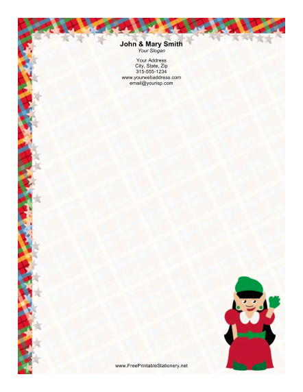 Lady Elf Red Dress Green Bow stationery design