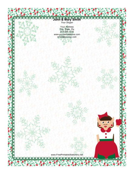 Lady Elf with Red Bow stationery design
