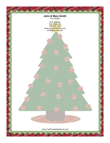 Large Christmas Tree Colorful Decorations stationery design