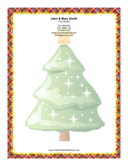Large Christmas Tree Colorful Plaid Border stationery design