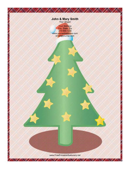 Large Christmas Tree Gold Stars stationery design