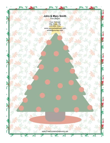 Large Christmas Tree Red Ornaments stationery design