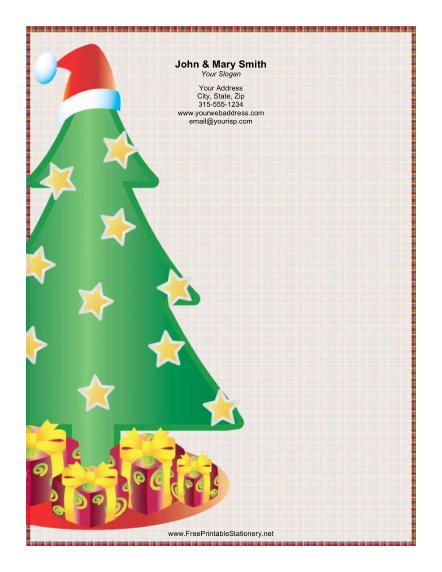 Large Christmas Tree with Presents stationery design