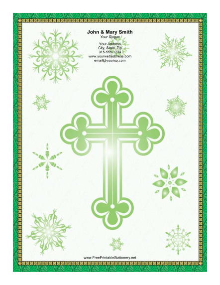 Large Green Cross stationery design