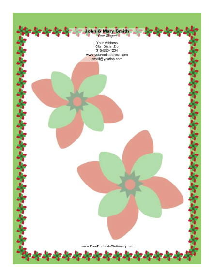 Large Poinsettias stationery design