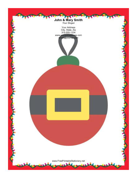 Large Santa Ornament stationery design