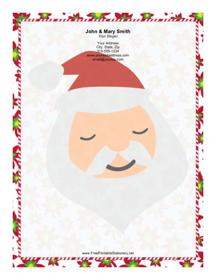 Large Santa Portrait Candy Canes stationery design