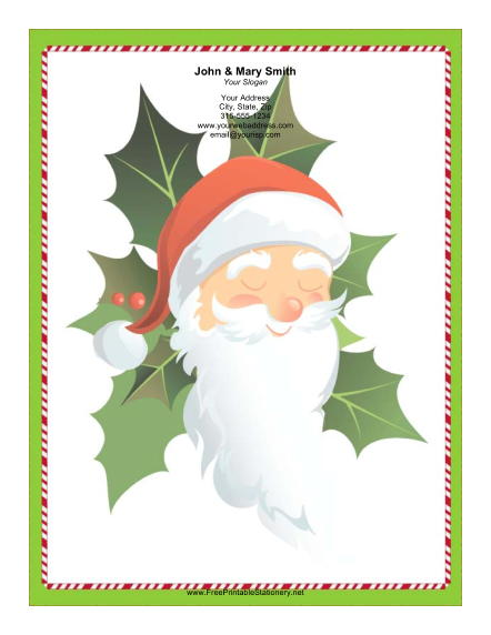 Large Santa Portrait Holly stationery design