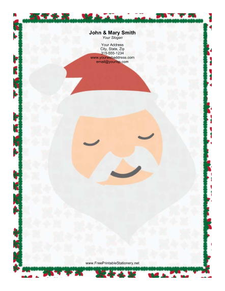 Large Santa Portrait Poinsettias stationery design