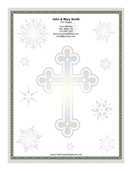 Large Silver Cross stationery design