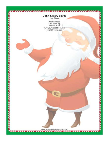 Large Smiling Santa Candy Cane Border stationery design