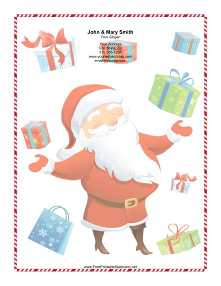 Large Smiling Santa Colorful Gifts stationery design