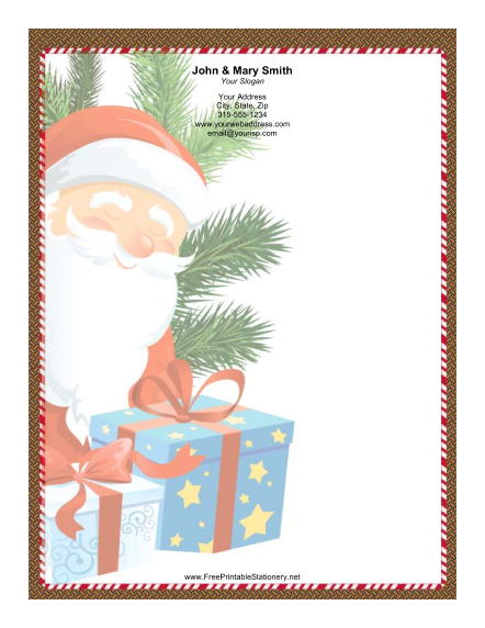 Large Smiling Santa Pine stationery design