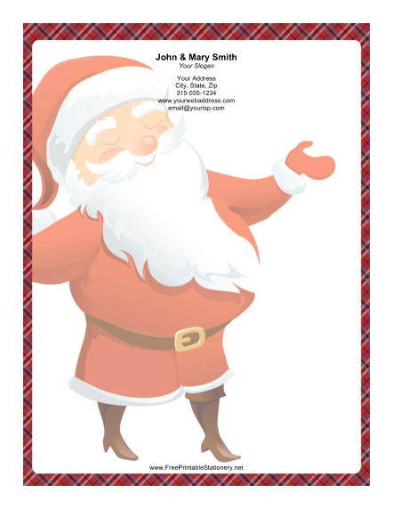 Large Smiling Santa Plaid Border stationery design