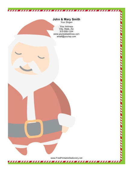 Large Stylized Santa Plaid Border stationery design