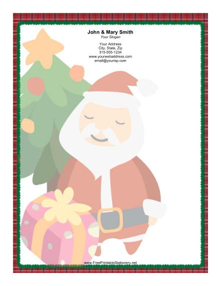 Large Stylized Santa Red Plaid Border stationery design
