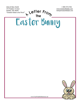 Letter From Easter Bunny Stationery stationery design