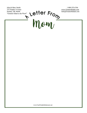 Letter From Mom Stationery stationery design