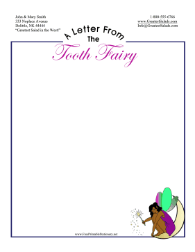 Letter From Tooth Fairy Stationery stationery design