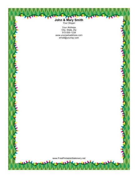 Lights with Green Border stationery design