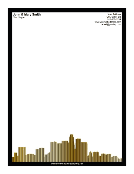 Los Angeles Skyline Black stationery design