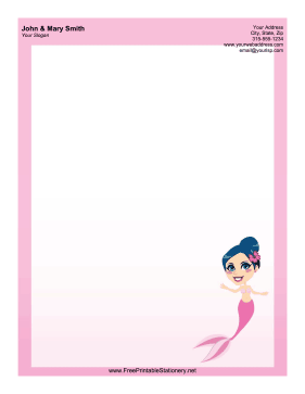 Mermaid Woman stationery design