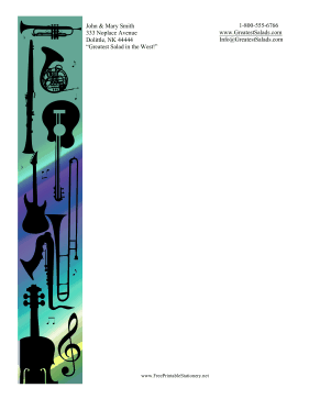 Musical Instruments Silhouette Stationery stationery design