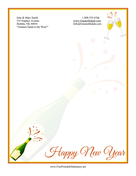 New Year Champagne Stationery stationery design