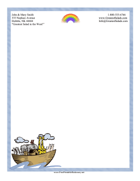 Noahs Ark Stationery stationery design