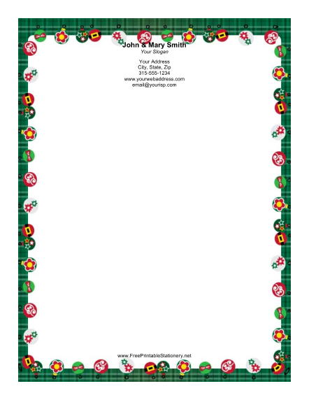 Ornaments with Green Plaid Border stationery design
