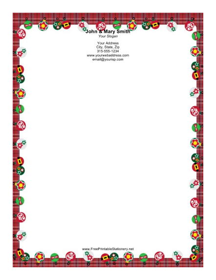 Ornaments with Red Plaid Border stationery design