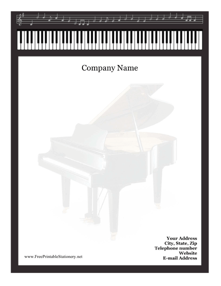 image relating to Free Printable Stationery Black and White known as Piano Stationery