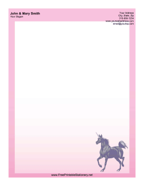 Pink Unicorn stationery design