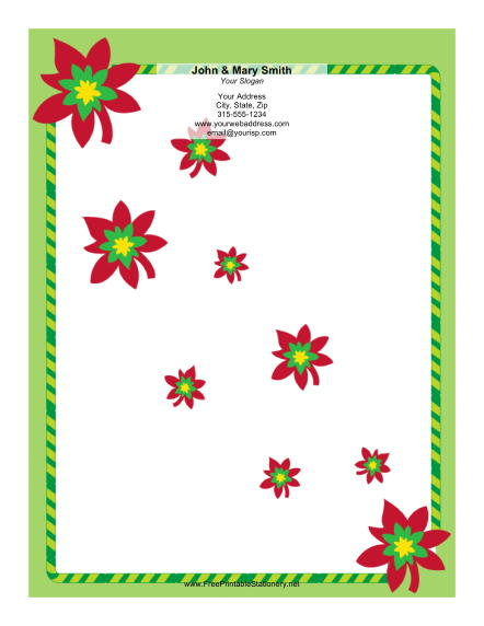 Poinsettia Cascade stationery design